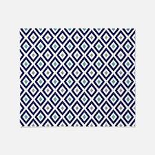 Ikat Pattern Navy Blue Aqua Grey Dia Throw Blanket