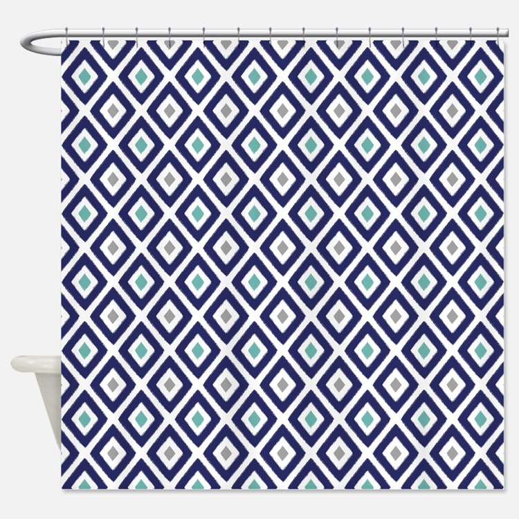 Aqua And Grey Shower Curtains | Aqua And Grey Fabric Shower ...