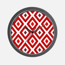 Ikat Pattern Red Diamond Wall Clock