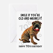 70th Birthday Wrinkly Shar Pei Dog Greeting Cards