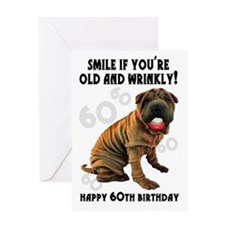 60th Shar Pei Dog Birthday Fun Card Greeting Cards