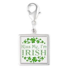 KISS ME, I'M IRISH Silver Square Charm