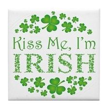 KISS ME, I'M IRISH Tile Coaster