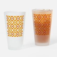 Ikat Pattern Orange Sunset Diamond Drinking Glass