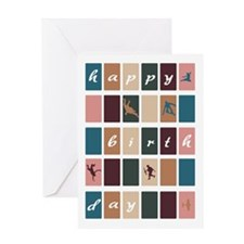 Modern Abstract Squares Birthday Greeting Cards