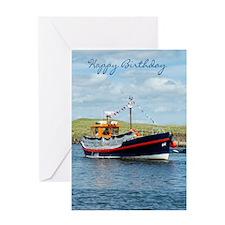 English Lifeboat Amble Birthday Greeting Cards