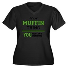 Cute Muffin Women's Plus Size V-Neck Dark T-Shirt