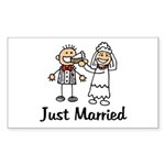 Just Married Cake Rectangle Sticker