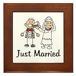 Just Married Cake Framed Tile