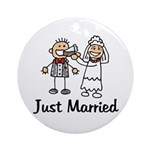 Just Married Cake Ornament (Round)