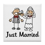 Just Married Cake Tile Coaster