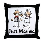 Just Married Cake Throw Pillow