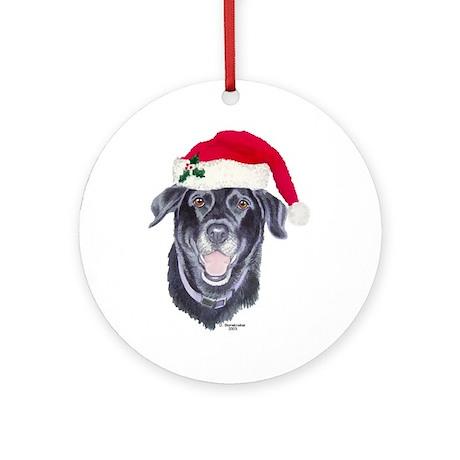 Black Labrador Retriever Round Ornament
