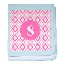 Pink Ikat Diamond Pattern Monogram baby blanket