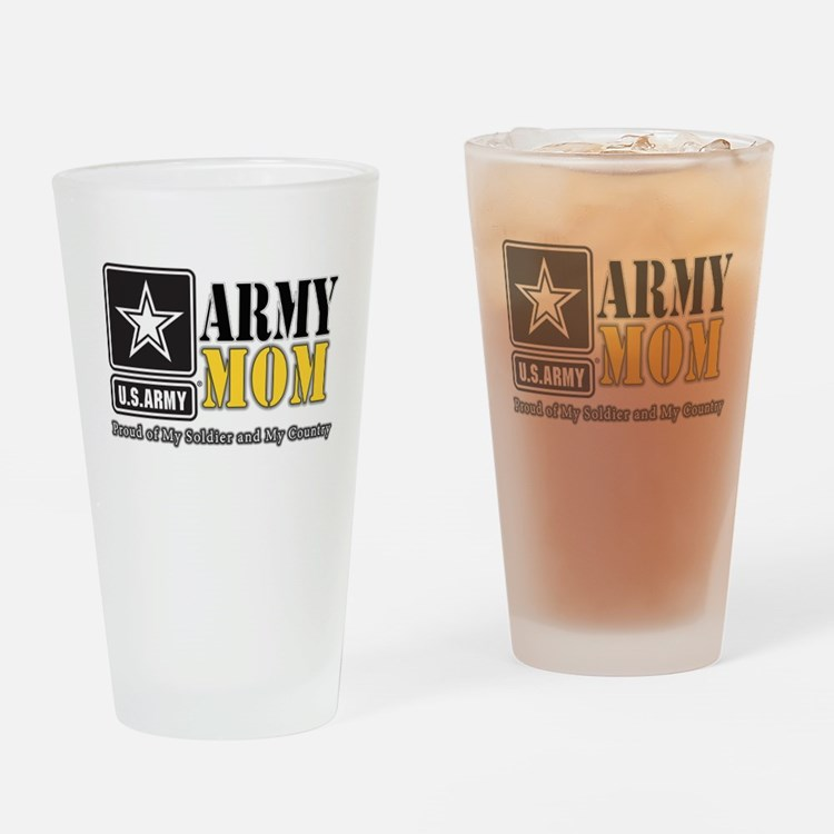 Army Mom Proud Drinking Glass