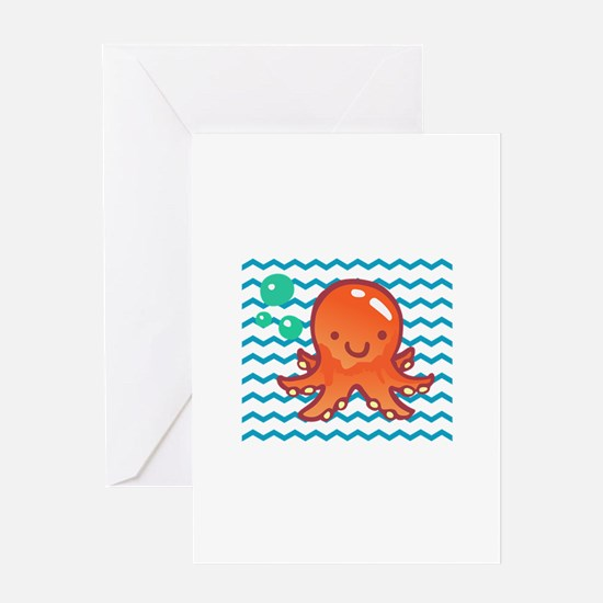 CUTE OCTOPUS IN WATER Greeting Cards
