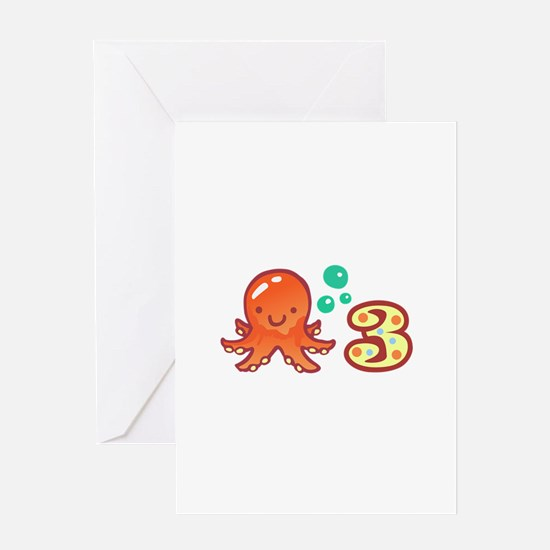 OCTOPUS THREE YEARS OLD Greeting Cards