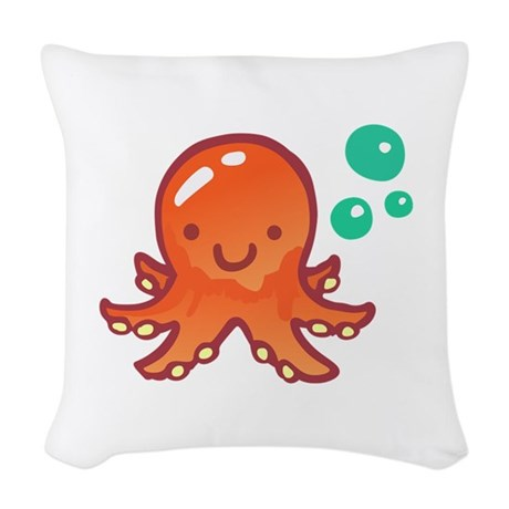 CUTE OCTOPUS Woven Throw Pillow by greatnotions8