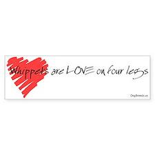 Whippet Love on 4 Legs Bumper Bumper Sticker