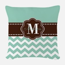 Brown Mint Green Chevron Personalized Woven Throw