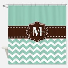 Brown Mint Green Chevron Personalized Shower Curta
