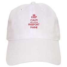 Keep calm we live in Freeport Maine Baseball Cap