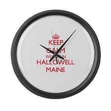 Keep calm we live in Hallowell Ma Large Wall Clock