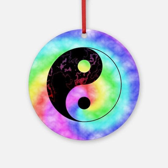 Rainbow Tie Dye Yin Yang Ornament (Round)