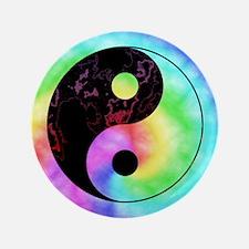 """Rainbow Tie Dye Yin Yang 3.5"""" Button"""