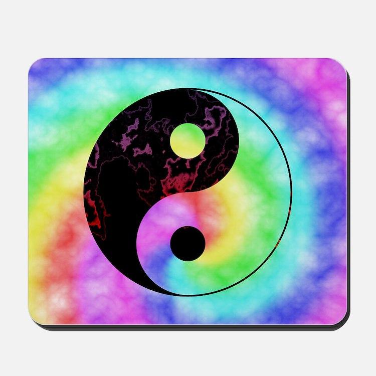 Rainbow Tie Dye Yin Yang Mousepad