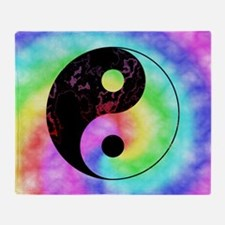 Rainbow Tie Dye Yin Yang Throw Blanket