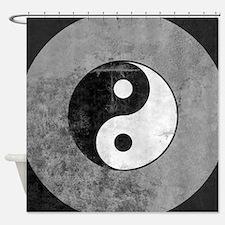 Distressed Yin Yang Symbol Shower Curtain