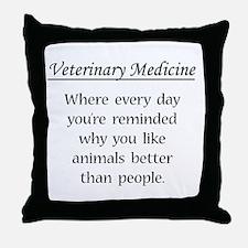 Vet Med: Animals Better Throw Pillow