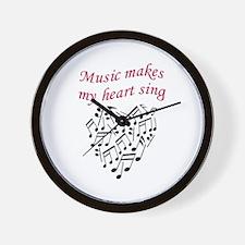 MUSIC MAKES HEART SING Wall Clock