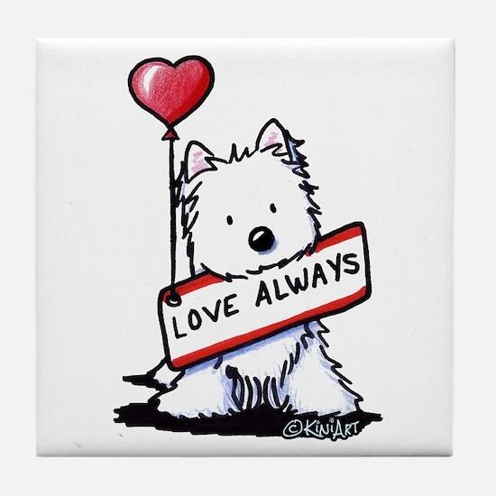 Love Always Westie Tile Coaster