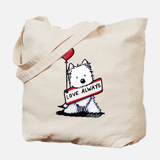 Love Always Westie Tote Bag