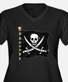 Pirate Flag Women's Plus Size V-Neck Dark T-Shirt