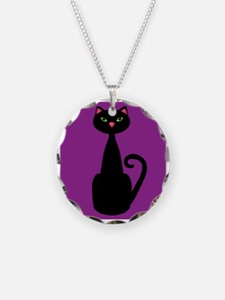 Black Cat on Purple Necklace