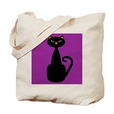 Black Cat on Purple Tote Bag
