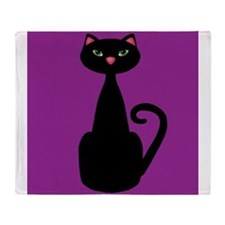 Black Cat on Purple Throw Blanket