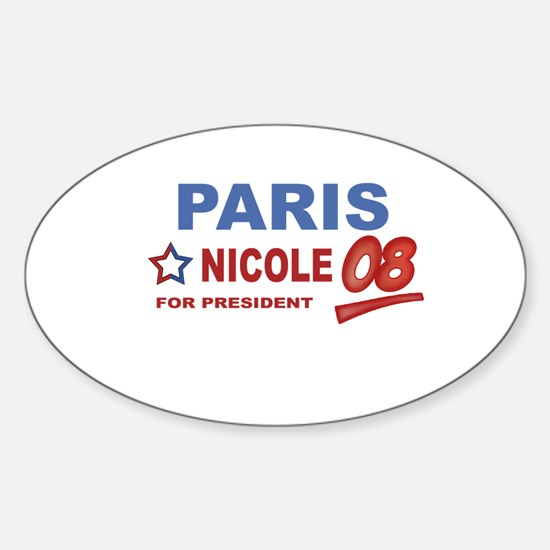 Paris and Nicole for presiden Oval Decal