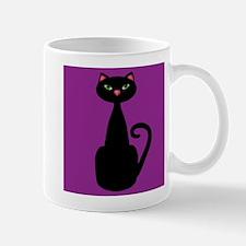 Black Cat on Purple Mugs