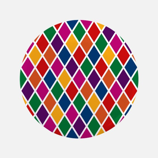 """Colorful Harlequin Pattern 3.5"""" Button"""