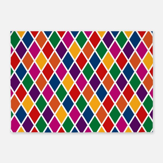 Colorful Harlequin Pattern 5'x7'Area Rug