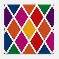Colorful Harlequin Pattern Tile Coaster