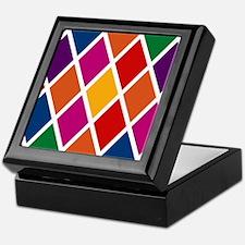 Colorful Harlequin Pattern Keepsake Box