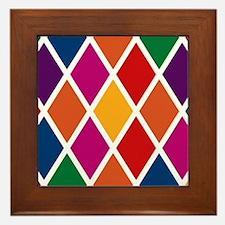 Colorful Harlequin Pattern Framed Tile