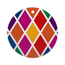 Colorful Harlequin Pattern Ornament (Round)