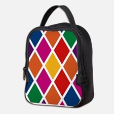 Colorful Harlequin Pattern Neoprene Lunch Bag
