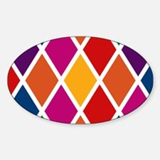 Colorful Harlequin Pattern Sticker (Oval)